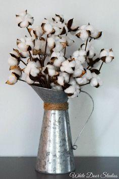 Rustic Farmhouse Cotton Arrangement Cotton Stems in