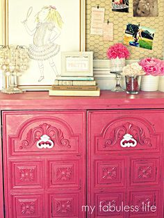love: eloise, pink Pink Cabinets, Diy Furniture Projects, Furniture Makeover, Home Furniture, Pink Dresser, Chicken Wire Frame, Daughters Room, Little Girl Rooms, Wire Board
