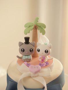 gato y kitty adorno de torta de bodak871 por kikuike en Etsy
