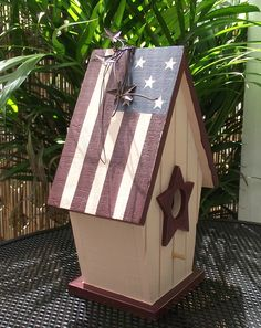 Star Spangled Rustic Bird House Cottage