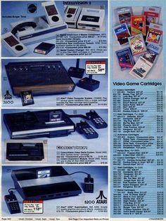 My second and third game console in one old ad: the original Atari 2600 (with the fake wood at the front), and the CBS ColecoVision.