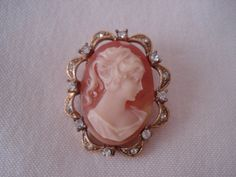 Vintage Cameo with Rhinestones by PrideandPreciousness on Etsy