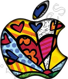 -Romero Britto Transparent decal that allows your MacBook and MacBook pro to… Arte Pop, Pop Art, Macbook Decal Stickers, Mac Decals, Led Logo, Apple Art, Apple Logo, Elements Of Art, Art Plastique