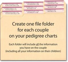 If organizing your family tree or genealogy/pedigree charts in file folders, MAKE SURE you are using acid-free file folders and document boxes. ~ ArchivalMethods