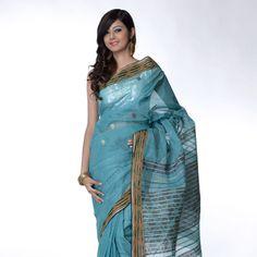 Blue Cotton Saree with Blouse