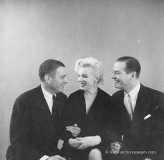 Laurence Olivier, Marilyn Monroe and Terence Rattigan during a publicity photo session for The Prince and the Showgirl, 1956. Photo by Milton Greene.