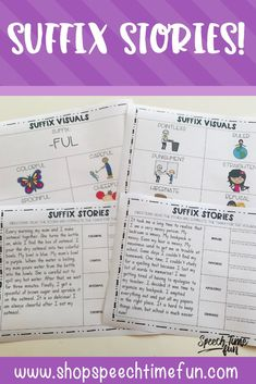 Want a way to work on building vocabulary at the story level with your older speech and language therapy students? Want more vocabulary activities without the prep?! Use this print and go pack and help your students identify, understand, and use suffixes to build vocabulary! #speech #speechtherapy #suffix #vocabulary #noprepspeech