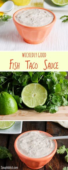 Wickedly Good Fish Taco Sauce alkergic to cilantro will use parsly low carb tacos- it's summer: fish taco bar time! And here's the best white sauce for your fish tacos. Perfectly spiced and make-ahead easy. Sauce Recipes, Fish Recipes, Seafood Recipes, Mexican Food Recipes, Cooking Recipes, Healthy Recipes, Tilapia Recipes, Cooking Tips, Salmon Recipes