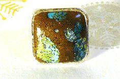 Bague carrée réglable en métal couleur argent et argile polymère couleur bronze kaki et bleu vert : Bague par commeilvousplaira