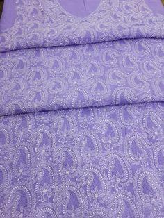 Lucknow Chikan Online Suit Length 3 piece purple cotton with very fine chikankari murri, shadow, kangan & handmade jaali work with designer neckline & pure chiffon dupatta  $76.5