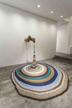 Ana Teresa Barboza Untitled, log and fabric installation, variable dimensions, Yarn Bombing, Art Au Crochet, Knit Art, Guerilla Knitting, Fabric Installation, Art Installations, Light Installation, Tricot D'art, Graffiti