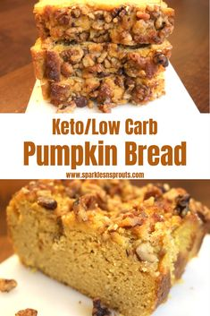 This Keto/Low Carb Pumpkin Bread is the perfect Fall treat that everyone can enjoy. Each slice only has 4 net Carbs.yep only THAT! How can I drop 20 pounds fast? Keto Foods, Keto Meal, Ketogenic Recipes, Low Carb Desserts, Low Carb Recipes, Bread Recipes, Cake Recipes, Pan Cetogénico, Moist Pumpkin Bread