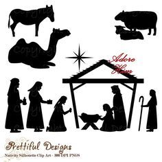 Christmas Nativity Silhouette Clip Art for Commercial Use  - Wise men Shepherd Animals Extended Version (783)