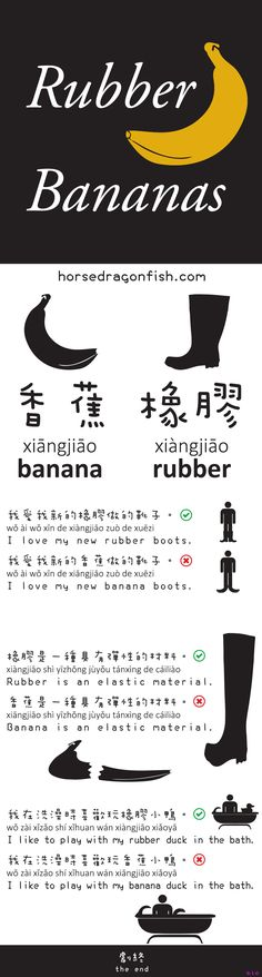 Rubber Bananas (why tones are important) by Chris (2012) : 香蕉 xiāngjiāo = banana  橡膠 xiàngjiāo = rubber