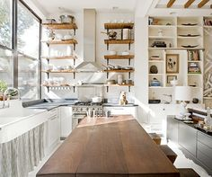 Contemporary Kitchen with Exposed beam, European Cabinets, Breakfast bar, Flush, Built-in bookshelf, Farmhouse sink, L-shaped