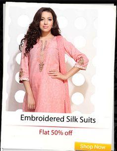 Embroidered Silk Kurtis at flat 50% off!