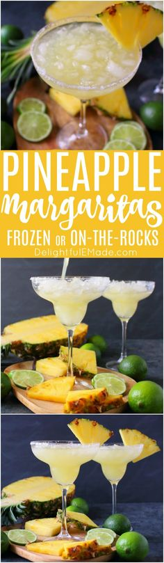 An amazing way to enjoy a fresh, delicious margarita! This easy Pineapple Margarita recipe is just 5 ingredients and comes together in moments. Fabulous for your next happy hour or celebrating Cinco de Mayo! #Delightfulemade #Cincodemayococktail #Partytime