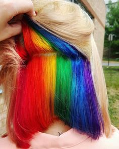 Hidden Rainbow Hair - color combinations and styling ideas for the cool hair color trend - # . - Hidden Rainbow Hair – color combinations and styling ideas for the cool hair color trend - Hair Dye Colors, Cool Hair Color, Weird Hair Colors, Hidden Hair Color, Hidden Rainbow Hair, Short Rainbow Hair, Rainbow Dyed Hair, Pelo Multicolor, Underlights Hair