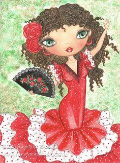 Flamenco Dancer Art print. Spanish girl whimsical watercolor painting. Spain cute doll illustration. Flamenco lover gift. Flamenco wall art.