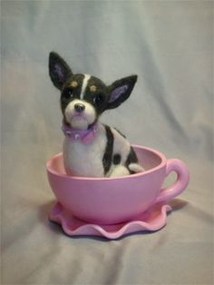 Needle felted Chihuahua with polymer clay teacup by Laurie Valko, via Flickr