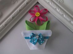 Flower Pot ribbon sculpture hair clip. Flower Pot by creationslove