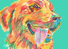 Golden Retriever CANVAS art print artist signed Colorful Golden Retriever gift by OjsDogPaintings: 24.44 GBP Golden… #dogs #etsy #art