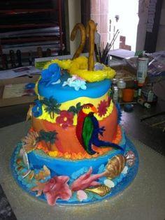3Tier Hawaii themed birthday cake.Tropical Island 3tier 21st birthday cake with all fondant decor