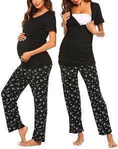 Women/'s Maternity Pregnancy Dresses Long Sleeve Collect The Waist Pajamas Dress