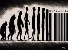 evolution with a bar code .   000 street art