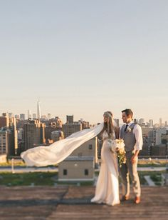 New York rooftop wedding shot by Bayly & Moore