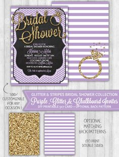 Bridal Shower Invitation Purple, Blackboard & Gold Glitter Bridal Shower Invitation, Pastel Purple Invite - DIGITAL PRINTABLE FILE