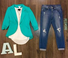 Deep Blue Sea. If you don't have a blazer ($68) in your closet yet, you need one ASAP! This beautiful turquoise blazer would be a fabulous place to start. The ruched sleeves are amazing! With the blazer being structured we added a flowy white tank top ($36) with black piping underneath. To keep the look casual we added a pair of our amazing distressed cuffed skinnies ($68). You could add a pair of sandals, wedges, ballet flats, heels, or even a cute pair of tennis shoes to complete this…
