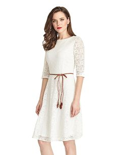 LookbookStore Women's Ivory White Lace 3/4 Sleeves A Line Knee Length Dress at Amazon Women's Clothing store: