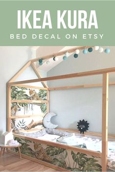 IKEA KURA BED removable stickers Tropical Cheetahs | Ikea nursery decals | Furniture stickers | Furniture decals set | Kids decor. #ikea #bed #decal #kids #decor #affiliate