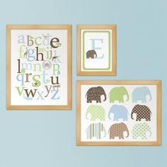 Elephants Marching & Alphabet Animals - Nursery Artwork trio of 3 prints. $48.00, via Etsy.