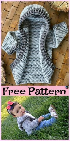 Most up-to-date Absolutely Free Crochet baby patrones Thoughts Häkeln Sie Baby Hoodie – kostenlose Muster Poncho Crochet, Crochet Baby Sweaters, Crochet Bebe, Crochet Baby Clothes, Baby Blanket Crochet, Crochet For Kids, Crochet Stitches, Free Crochet, Crochet Hats