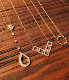 Rose gold layering necklaces #diamonds #danarebecca