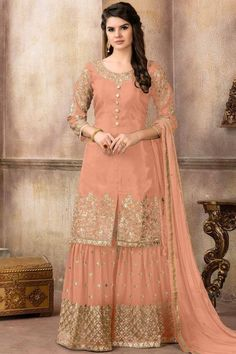 Buy Salmon Orange Silk Sharara Suit With Zari Work Online - Salmon Color Silk Embroidered Sharara Suit Shadi Dresses, Pakistani Formal Dresses, Indian Gowns Dresses, Indian Fashion Dresses, Pakistani Dress Design, Indian Designer Outfits, Designer Dresses, Eid Dresses, Indian Outfits