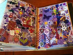 Cool colour idea - make different coloured pages from all your paper, stickers, etc of one colour - Purple Smash Book Page