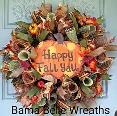 FALL wreath,Pumpkin wreath, FALL decor, Welcome wreath, Fall deco mesh wreath, HARVEST wreath, Happy fall wreath, floral wreath by BamaBelleWreaths on Etsy