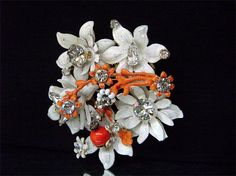 Vintage Haskell Style Flower Brooch White Enamel by JustSparkles