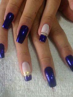 Cute Nail Art, Beautiful Nail Art, Nail Art Designs, Korean Nail Art, Manicure And Pedicure, Pedicure Ideas, Blue Pedicure, Stylish Nails, Blue Nails