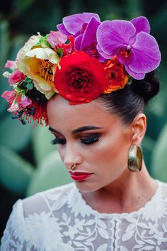 Wedding Flowers Frida Kahlo style oversize flower crown with orchids Floral Crown Wedding, Wedding Flowers, Floral Crowns, Wedding Bouquets, Mexican Flowers, Floral Headdress, Mexican Fashion, Mexican Style, Mexican Party