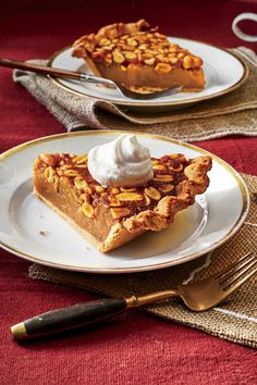 Peanut Pie   Each state in the South is responsible for some tasty pies. This Thanksgiving, we're inviting you on a little road trip, an imaginary excursion through 10 Southern states, each one with a particular pie worthy of your own holiday table. You won't need a map, a seat belt, or car keys for this journey—just an appetite to try something different. These pies, each with a distinct provenance, are full of stories and flavors that are unique to the states from which they came.