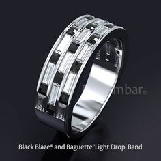 Bez Ambar's 'Light Drop' black Blaze and diamond baguette band. Designed and manufactured in our Los Angeles Studio Bez Ambar's 'Light Drop' black Blaze and diamond baguette band. Designed and manufactured in our Los Angeles Studio Diamond Wedding Bands, Diamond Rings, Wedding Rings, Girls Jewelry, Fine Jewelry, Jewellery, Baguette Diamond Band, Ring For Boyfriend, Anniversary Rings