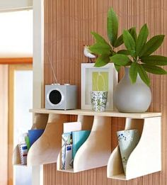 DIY mail station with a shelf and magazine holders. The magazine holders are too big, but I love the shelf idea. Ikea Office Organization, Workshop Organization, Organizing Ideas, Office Storage, Organization Station, Paper Organization, Organizing Papers, Office Shelving, Weekend Projects