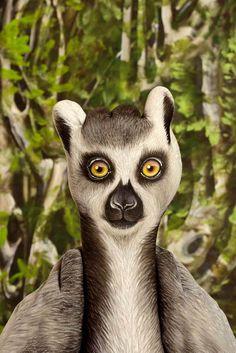 Lemur Handpainting be Guido Daniele