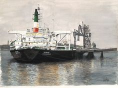 """The Anglo Iranian ton crude oil tanker SS """"Sivand"""" alongside a refinery loading jetty in the Persian Gulf. Medium: watercolor on x watercolor paper. Tanker Ship, Offshore Boats, Oil Tanker, Ship Drawing, Crude Oil, Art Sites, Automotive Art, Ship Art, Abstract Oil"""