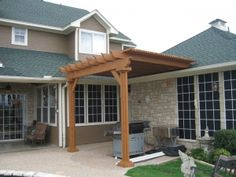 The wooden pergola is a good solution to add beauty to your garden. If you are not ready to spend thousands of dollars for building a cozy pergola then you may devise new strategies of trying out something different so that you can re Diy Pergola, Building A Pergola, Corner Pergola, Small Pergola, Pergola Canopy, Metal Pergola, Outdoor Pergola, Pergola With Roof, Wooden Pergola