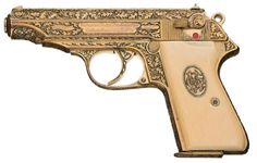"Exceptional and Historic World War II Deluxe Factory Engraved and Gold Finished Nazi Presentation Walther Model PP Semi-Automatic Pistol with Inscribed Initials ""MG"""